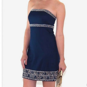 Lilly Pulitzer Beaded Navy Strapless Dress, size 4